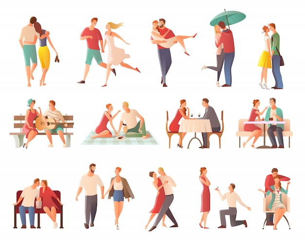 Romantic dinner dating couples flat isolated characters collection with lovers kissing going for walk giving gifts Free Vector