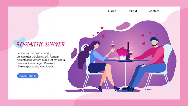Romantic dinner at restaurant, landing page web template Premium Vector