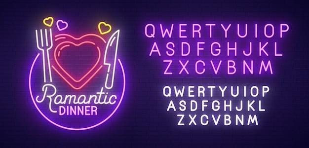 Romantic dinner sign Premium Vector