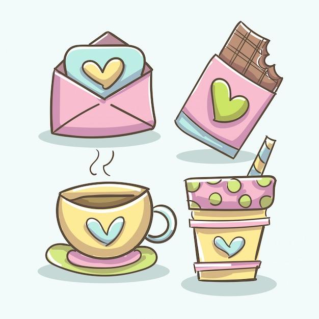 Романтические элементы с кофе, шоколадной таблеткой, чашкой и конвертом Бесплатные векторы