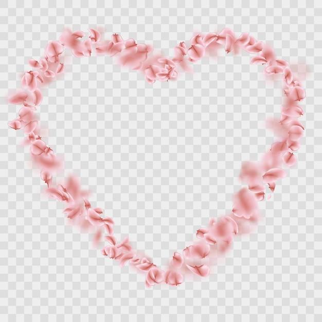 ロマンチックな落下桜の花びらハート。 Premiumベクター