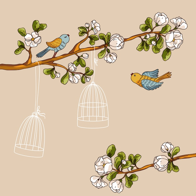 Романтический цветочный фон. птицы вне клеток. весенние птицы летят на ветке Premium векторы