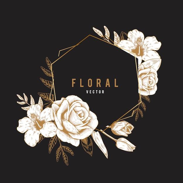 Romantic floral badge Free Vector