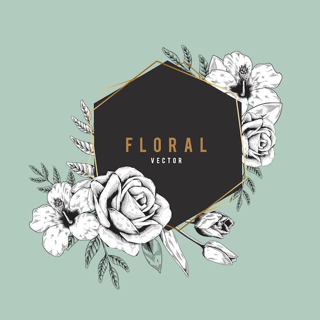 Romantic floral badge Free Vector