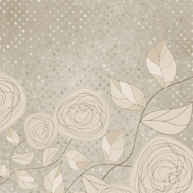 빈티지 장미와 로맨틱 꽃. 프리미엄 벡터