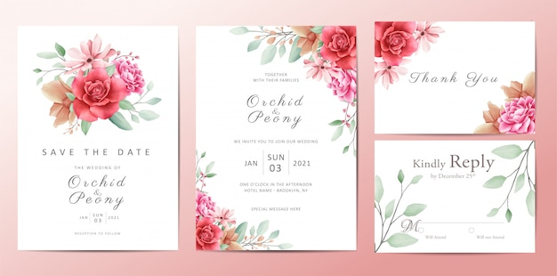 Romantic flowers wedding invitation template card set Premium Vector