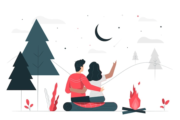 Romantic getaway illustration concept Free Vector