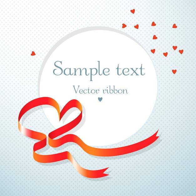 赤いハートリボンとハートフラットベクトルイラストと丸いテキストフィールドとロマンチックなギフトカード 無料ベクター