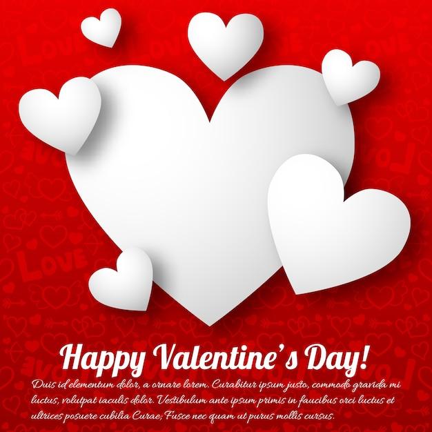 Романтическая открытка с текстом белых сердечек на красной иллюстрации Бесплатные векторы