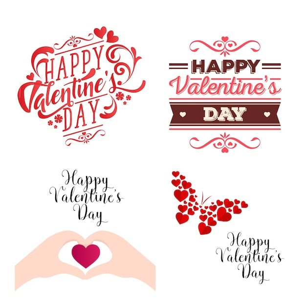 Romantic happy valentine card element illustration set Free Vector