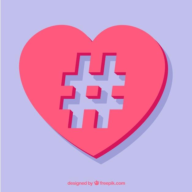 Romantic hashtag design Free Vector