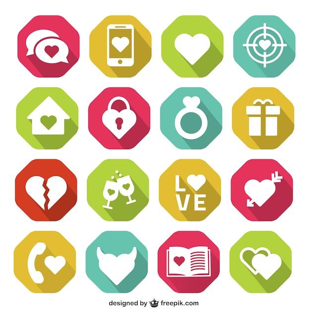 Romantic icons Free Vector
