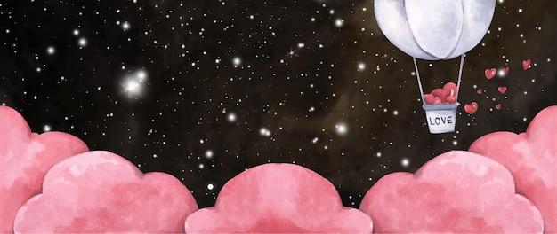 ロマンチックなイラスト。夜空にハートが飛んでいる熱気球。愛とバレンタインデーのイラスト。水彩イラスト。 Premiumベクター