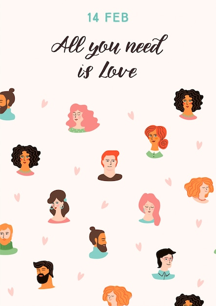 Romantic illustration with cute young women and men in love. Premium Vector