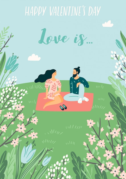 Romantic illustration with people. Premium Vector