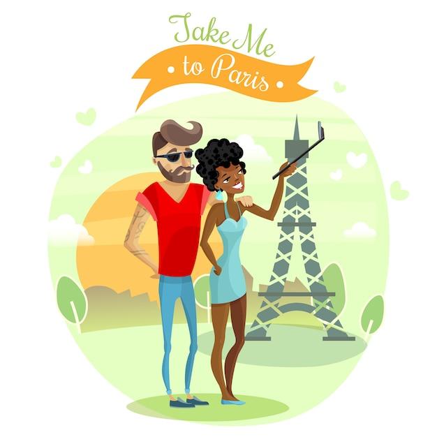 Romantic journey illustration Free Vector