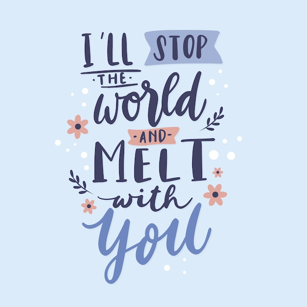 Romantic love lettering Free Vector