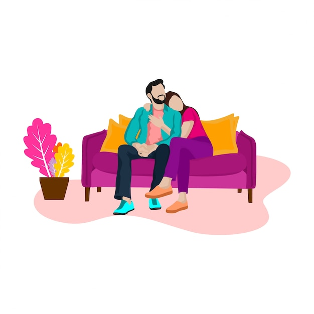 Romantic man and woman on the sofa Premium Vector
