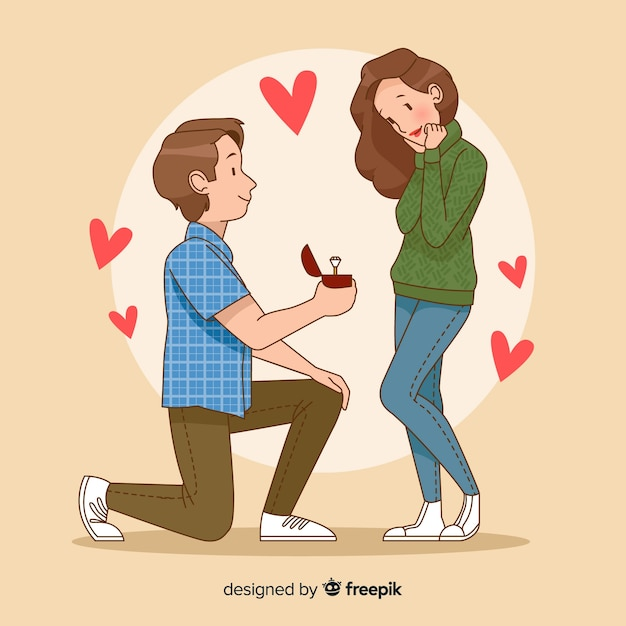 romantic marriage proposal concept vector free download