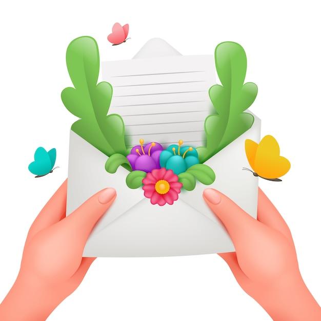 花のフレームのグリーティングカードでロマンチックなメッセージ。女性の手で封筒が大好き Premiumベクター