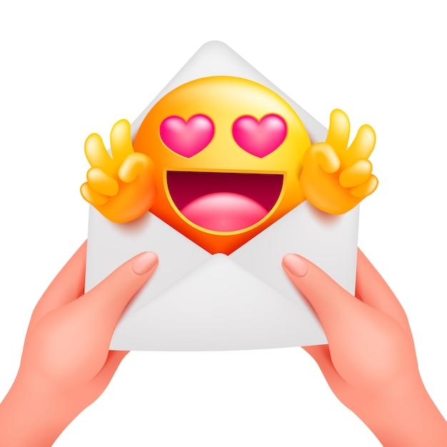 黄色の絵文字の漫画のキャラクターとのロマンチックなメッセージ。女性の手で封筒が大好き Premiumベクター
