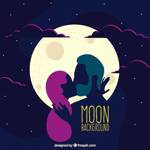 Romantic moon background and couple kissing  Free Vector