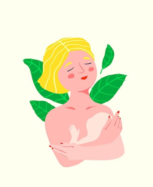 Романтическое материнство, держа ребенка на руках женский портрет, молодая и красивая мать эмоциональная и милая. Premium векторы