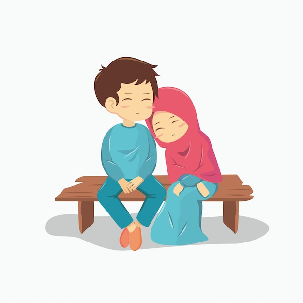 Romantic muslim couple Premium Vector