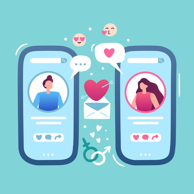 Premium Vector | Romantic online date. internet love dating app, female and male hold smartphone and relationships couple match site illustration