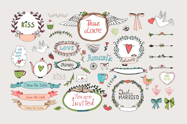 Романтические декоративные рамки, баннеры и ленты. романтический набор орнаментов Бесплатные векторы