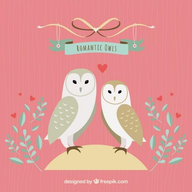 Romantic owls illustration Free Vector