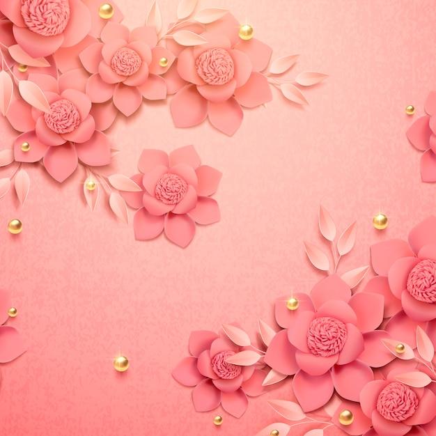 ロマンチックな紙の花と3 dイラストの黄金のビーズの背景 Premiumベクター