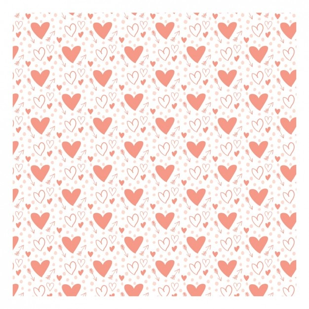 Romantic pattern with hand drawn hearts Free Vector