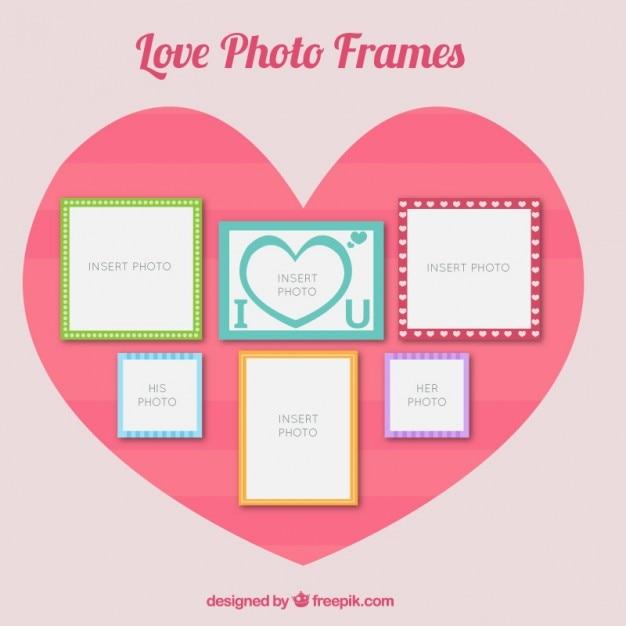 Download Vector - Romantic photo frames set in flat design ...