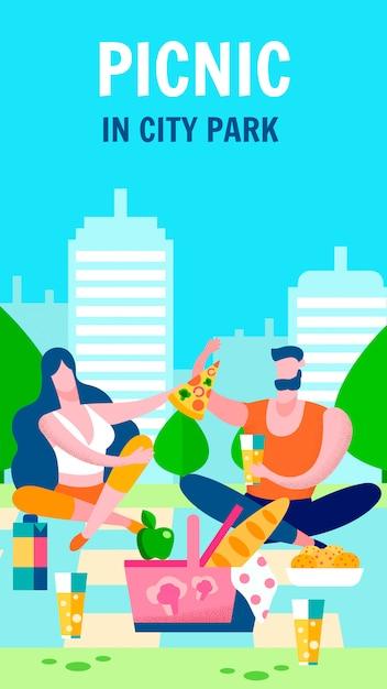 Romantic picnic for couple banner Premium Vector