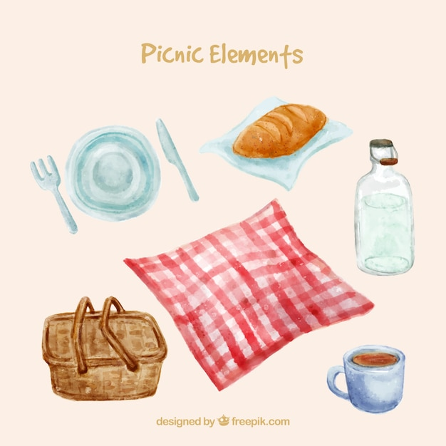 Romantic picnic elements