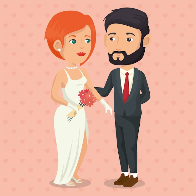 Romantic picture of just married couple Free Vector
