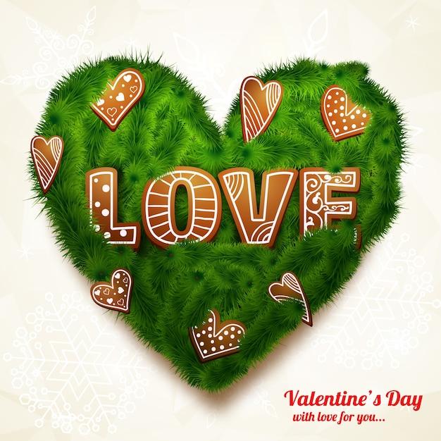 Романтическая реалистичная открытка с надписью зеленое сердце из веток деревьев и декоративных фигур, изолированных векторная иллюстрация Бесплатные векторы