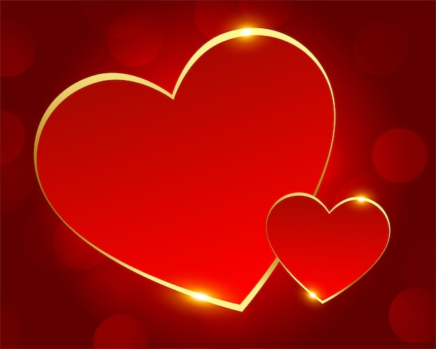 Romantic red and golden love hearts Free Vector