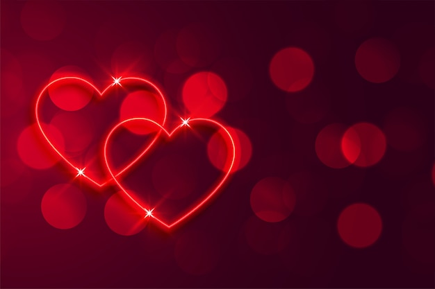 Romantic red neon hearts bokeh valentines background Free Vector