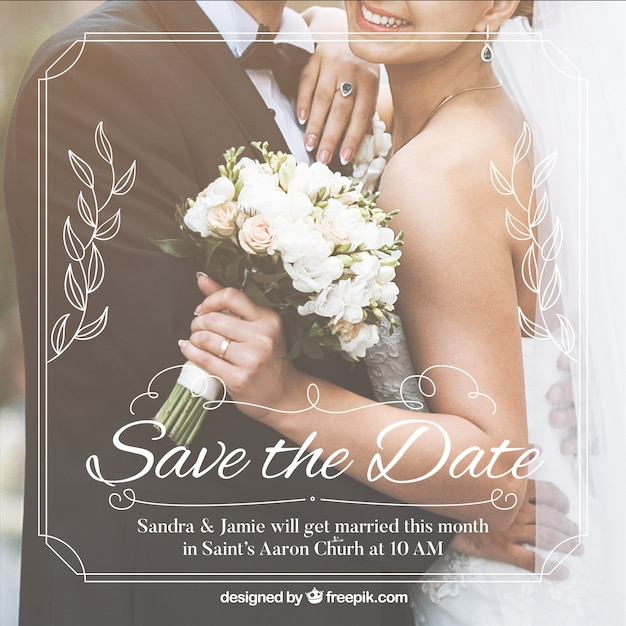 Romantic save the date invitation template Free Vector