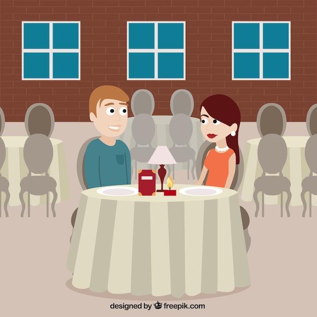 Romantic scene in a restaurant Vector   Free Download