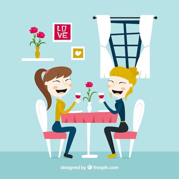 Romantic scene of girls in a restaurant