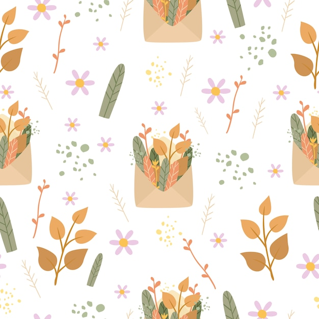 Romantic seamless pattern envelope and plants Free Vector