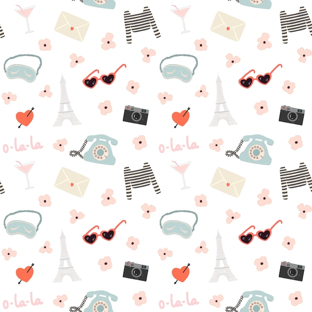 Romantic seamless pattern with a lot of travel elements Premium Vector
