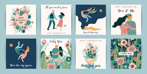 Romantic set of cute illustrations for valentines day and other users. Premium Vector