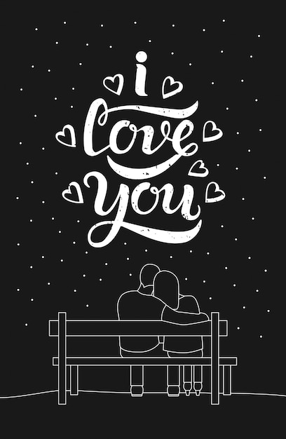 Romantic silhouette of loving couple sit on a bench Premium Vector