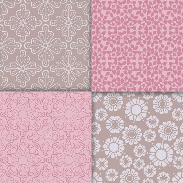 Romantic style pink pattern set Premium Vector