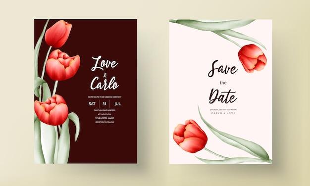 Романтическое свадебное приглашение с цветком тюльпана Бесплатные векторы