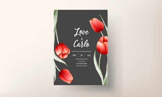 Carta di invito matrimonio romantico fiore tulipano Vettore gratuito
